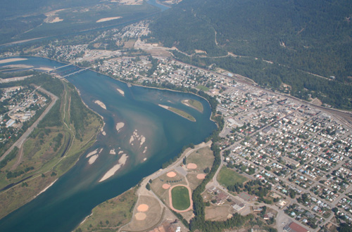Beautiful Aerial of Revelstoke and the Columbia River, BC